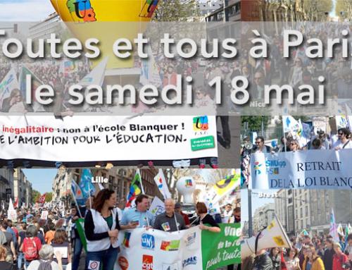 18 mai : manifestation nationale à Paris – Pour le service public d'éducation et ses personnels